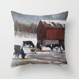Holstein Dairy Cows in Snowy Barnyard; Winter Farm Scene No. 2 Throw Pillow