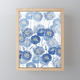 blue indigo dandelion pattern watercolor Framed Mini Art Print