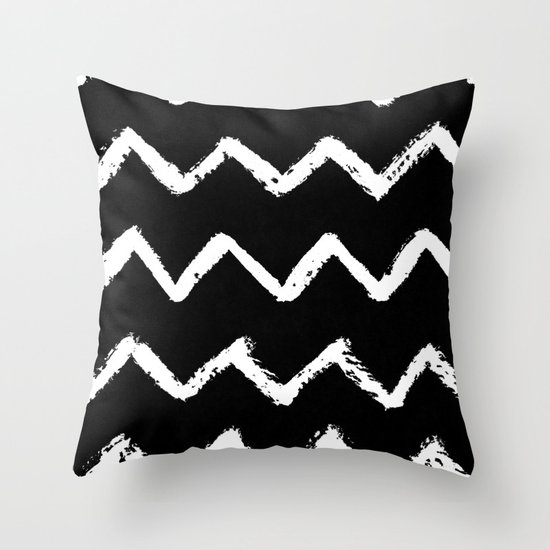 Chevron Stripes White on Black Throw Pillow by Simple Luxe Society6