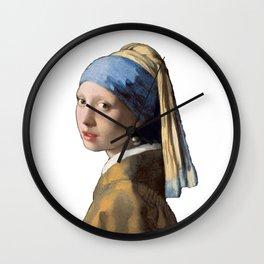 Johannes Vermeer Girl With A Pearl Earring 1665 T Shirt, Art Wall Clock