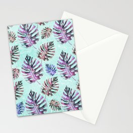 Modern hand painted pink purple watercolor monster leaves Stationery Cards