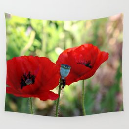 poppies in the summer Wall Tapestry