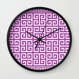 Greek Key (Purple & White Pattern) Wall Clock