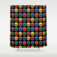 skulls Shower Curtains featuring skulls by Fabian Bross