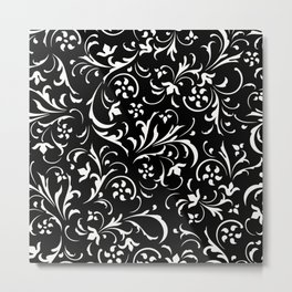 White floral swirly damasks pattern on black Metal Print