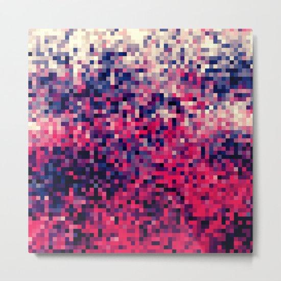 Magenta Indigo Blue Pixels Metal Print