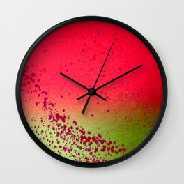 Field of Green with Red Flowers Wall Clock