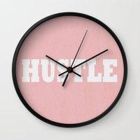 hustle Wall Clocks featuring Hustle by Ashley Baptiste