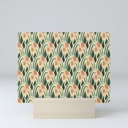 a lot of flowers for art deco green Mini Art Print