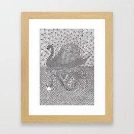 Mirrored Swan Framed Art Print