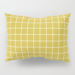 Old gold - beije color - White Lines Grid Pattern Pillow Sham