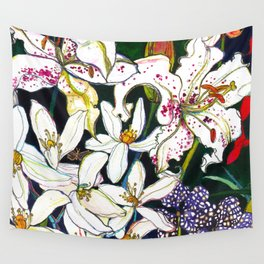 Lilies & Orchids Wall Tapestry