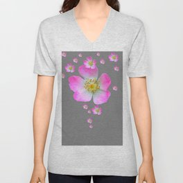 WILD PINK ROSE CASCADE ON GREY Unisex V-Neck