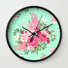 Cottage Chic Roses and Lilacs Floral in Aqua and Pink Wall Clock