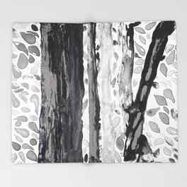 Rainbow Eucalyptus Graffiti artist tree from shedding bark South Pacific Black and White Night Throw Blanket
