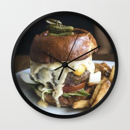 Burger with tiny pickled on food photography Wall Clock
