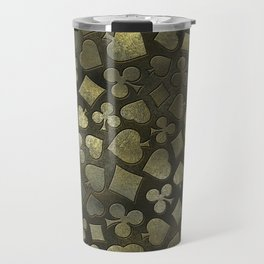 Vintage Gold and Marble Suits Pattern Travel Mug