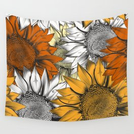 Beautiful pattern from hand drawn sunflowers Wall Tapestry