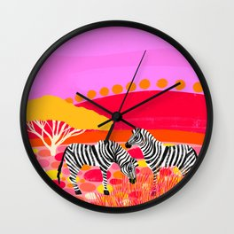 Sunset in Botswana Wall Clock