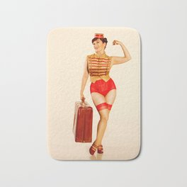 """Belle Hop"" - The Playful Pinup - Retro Bell Hop Pinup Girl by Maxwell H. Johnson Bath Mat"