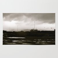 homer Area & Throw Rugs featuring Homer Spit  by Julia Blanchette