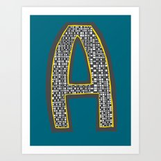 Checkerboard Letter A  Art Print