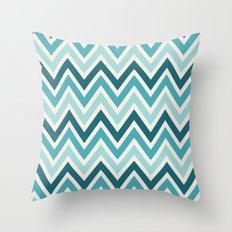 Indie Spice: Turquoise Chevron Throw Pillow