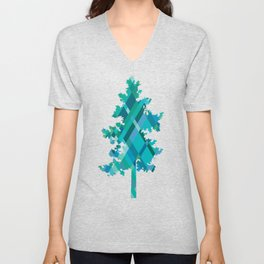 Blue Green Harlequin Pattern Unisex V-Neck