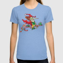 Halloween witch flying on a Christmas candy cane T-shirt