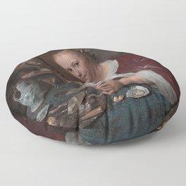 Jan Steen - Girl eating oysters Floor Pillow