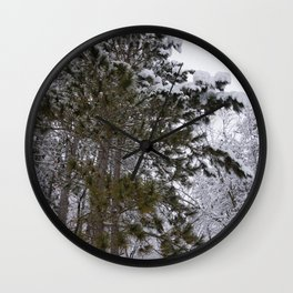 Snowy Pines Wall Clock