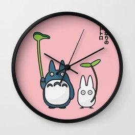 Chu & Chibi Totoro Pop art - Pink Version Wall Clock