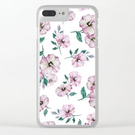 PINK FLOWERS WATERCOLOR Clear iPhone Case