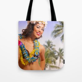 """Aloha"" - The Playful Pinup - Coconut Shell Bikini Pinup Girl by Maxwell H. Johnson Tote Bag"