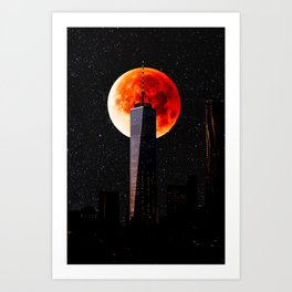 Blood Moon Over One World Trade Center and New York City Skyline Art Print