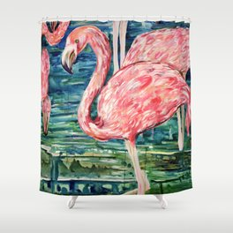 Flamingo Party Pink and Tropical Shower Curtain