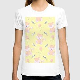 Happy Birthday Orange Fox on Yellow Background Pattern T-shirt