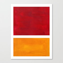 Burnt Red Yellow Ochre Mid Century Modern Abstract Minimalist Rothko Color Field Squares Canvas Print