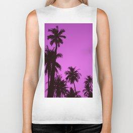 Tropical palm trees on blue pink Biker Tank