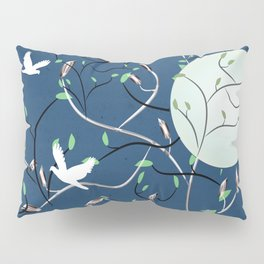 Art Nouveau Moon with Doves (Blue and Silver) Pillow Sham