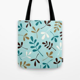 Assorted Leaf Silhouettes Teals Cream Brown Gold Tote Bag