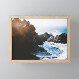 Cliff, Wave, and Beach Framed Mini Art Print