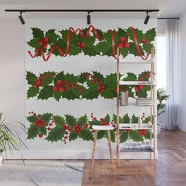 Christmas holly decoration Wall Mural