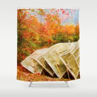 rowing Shower Curtains featuring Till Next Year by ThePhotoGuyDarren