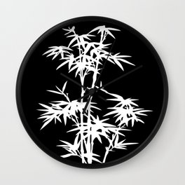 Black and White Bamboo Silhouette Wall Clock