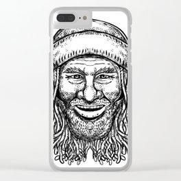Rastafarian Dude Tattoo Grayscale Clear iPhone Case