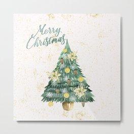 Christmas Tree Merry Christmas Metal Print