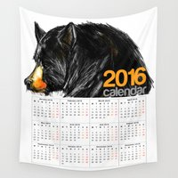 calendar Wall Tapestries featuring 2016 Calendar Black Bear by James Peart