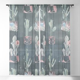 Rose Gold Desert Potted Cactuses and Succulents Night Sky Sheer Curtain