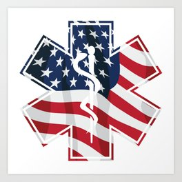 Patriotic Paramedic EMT EMS Star of Life Medical Service Symbol with USA Flag Overlay Art Print